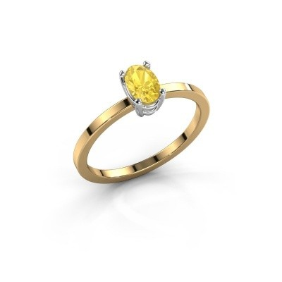 Foto van Ring Lynelle 1 585 goud gele saffier 6x4 mm
