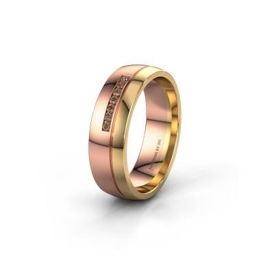 Trouwring WH0308L26AP 585 rosé goud bruine diamant ±6x1.7 mm