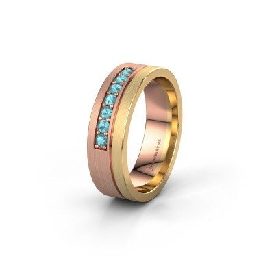 Trouwring WH0312L16AM 585 rosé goud blauw topaas ±6x1.7 mm