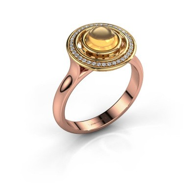 Ring Salima 585 rosé goud citrien 6 mm