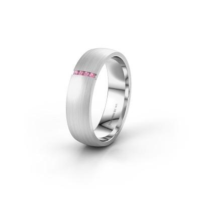 Trouwring WH0154L25XM 585 witgoud roze saffier ±5x1.4 mm