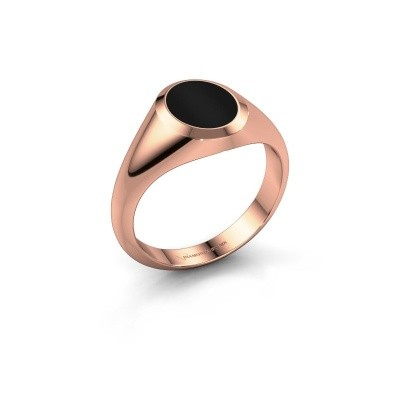 Pinkring Herman 1 375 rosé goud onyx 10x8 mm