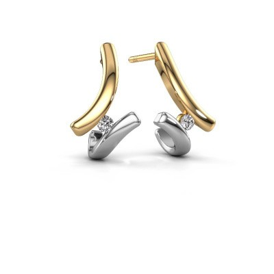 Photo de Boucles d'oreilles Amy 585 or jaune diamant 0.12 crt