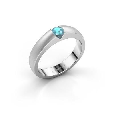 Verlovingsring Theresia 950 platina blauw topaas 3.4 mm