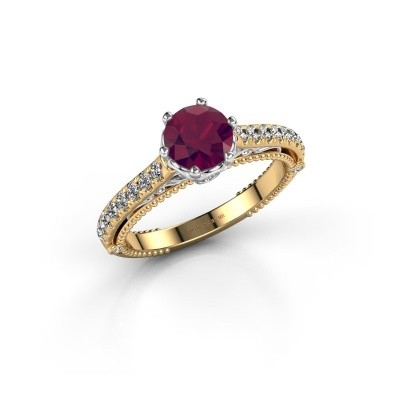 Photo de Bague de fiançailles Venita 585 or jaune rhodolite 6.5 mm