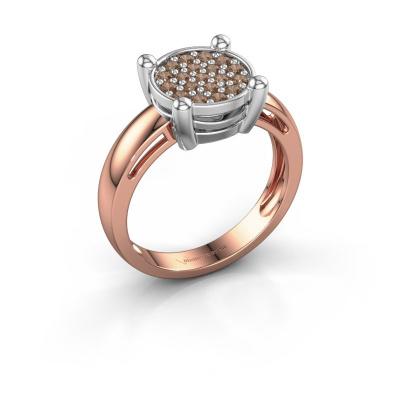Ring Dina 585 rosé goud bruine diamant 0.342 crt