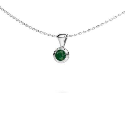 Foto van Ketting Lieke 585 witgoud smaragd 4 mm