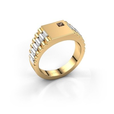 Picture of Men's ring Pelle 585 gold smokey quartz 3 mm