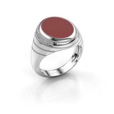 Chevalière Luuk 950 platine émail rouge 15x12 mm
