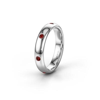 Wedding ring WH0105L34BP 925 silver garnet ±4x2 mm