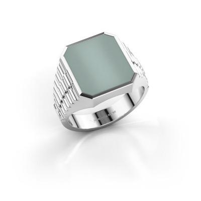 Foto van Rolex stijl ring Brent 3 585 witgoud groene lagensteen 14x12 mm