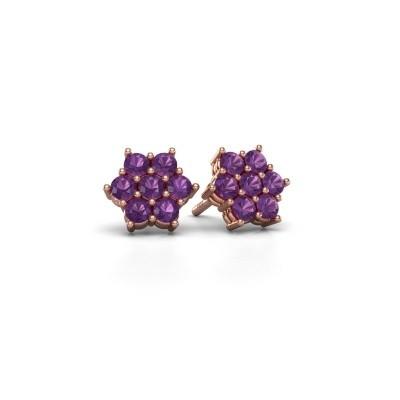 Picture of Stud earrings Bonita 375 rose gold amethyst 2.4 mm