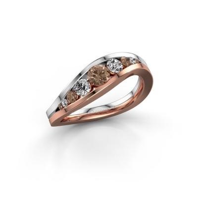 Foto van Ring Sigrid 2 585 rosé goud bruine diamant 0.594 crt