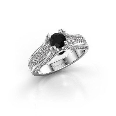 Foto van Verlovingsring Jeanne 2 950 platina zwarte diamant 1.138 crt
