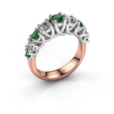 Verlovingsring Fatima 585 rosé goud smaragd 3.7 mm