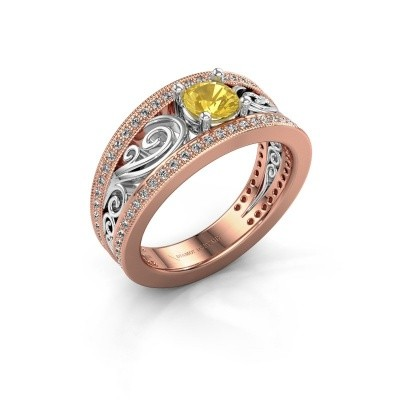 Foto van Verlovingsring Julliana 585 rosé goud gele saffier 5 mm