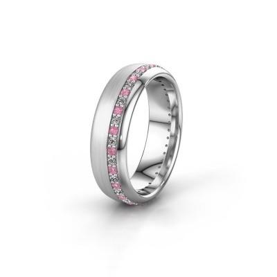 Trouwring WH0303L36BMP 585 witgoud roze saffier ±6x2 mm