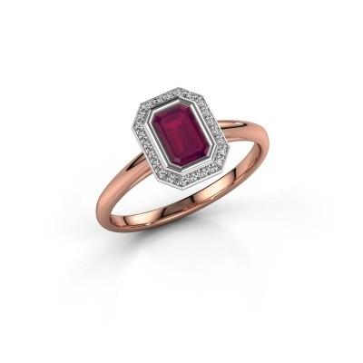Verlovingsring Noud 1 EME 585 rosé goud rhodoliet 6x4 mm