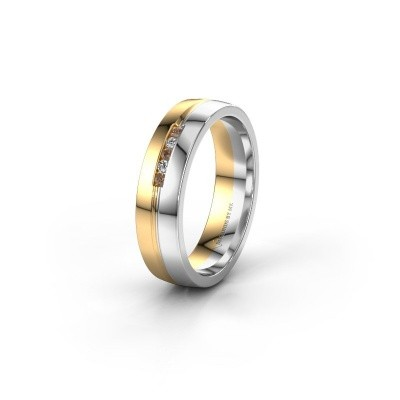 Trouwring WH0132L25B 585 goud bruine diamant ±5x2 mm