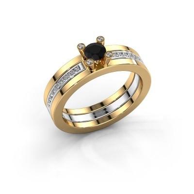 Foto van Ring Alisha 585 goud zwarte diamant 0.41 crt