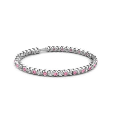 Tennisarmband Asley 585 witgoud roze saffier 3 mm
