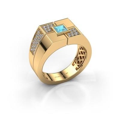 Men's ring Rogier 585 gold blue topaz 4 mm