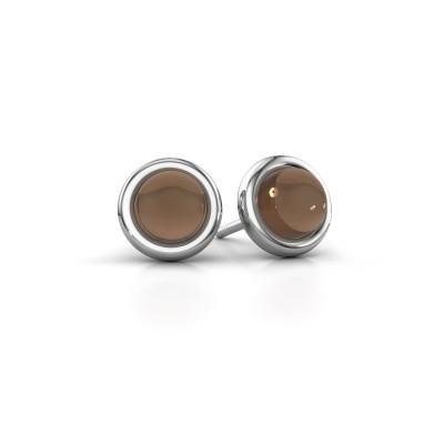 Picture of Stud earrings Jodi 925 silver smokey quartz 6 mm