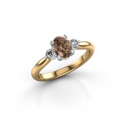 Foto van Verlovingsring Lieselot OVL 585 goud bruine diamant 0.76 crt