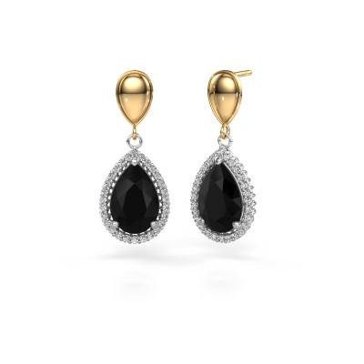 Drop earrings Tilly per 1 585 white gold black diamond 7.62 crt