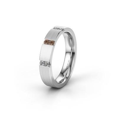 Wedding ring WH2133L14BM 585 white gold brown diamond ±4x2.2 mm