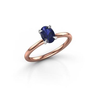Foto van Verlovingsring Crystal OVL 1 585 rosé goud saffier 7x5 mm