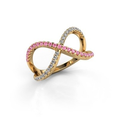 Ring Alycia 2 375 gold pink sapphire 1.3 mm