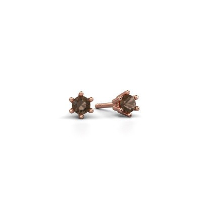 Picture of Earrings Fay 375 rose gold smokey quartz 3.4 mm