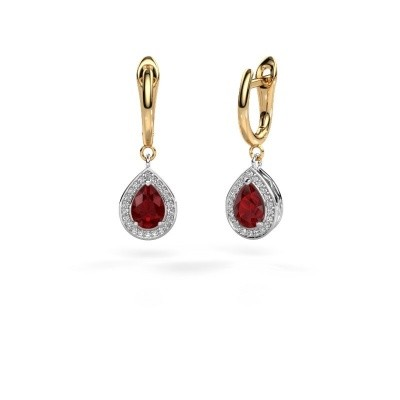 Picture of Drop earrings Ginger 1 585 white gold ruby 7x5 mm