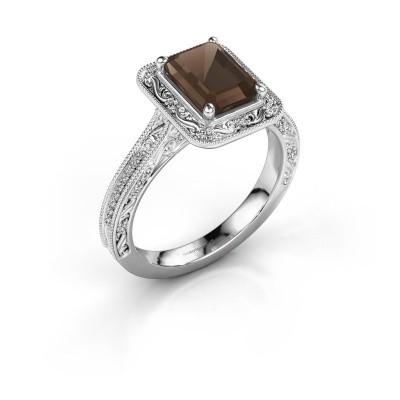 Verlovings ring Alice EME 925 zilver rookkwarts 7x5 mm