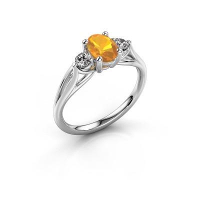 Bild von Verlobungsring Amie OVL 585 Weißgold Citrin 7x5 mm