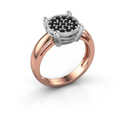 Ring Dina 585 rosé goud zwarte diamant 0.41 crt