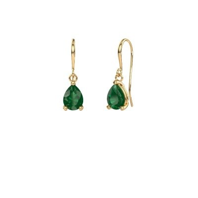 Picture of Drop earrings Laurie 1 585 gold emerald 8x5 mm