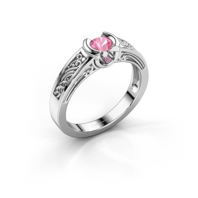 Foto van Verlovingsring Elena 950 platina roze saffier 4 mm
