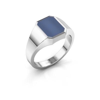 Zegelring Lars 1 F 375 witgoud blauw lagensteen 10x8 mm