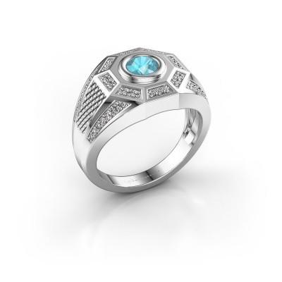 Foto van Heren ring Enzo 925 zilver blauw topaas 5 mm