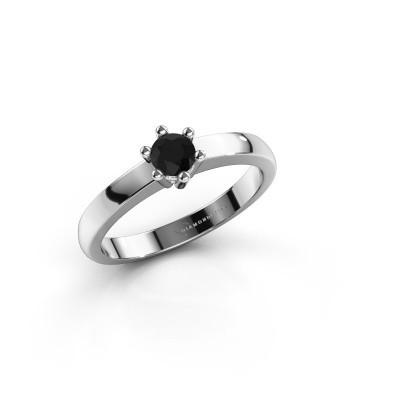 Verlovingsring Luna 1 585 witgoud zwarte diamant 0.24 crt