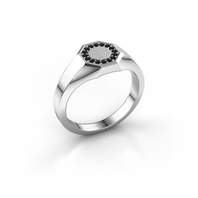 Pinkring Floris Octa 1 375 witgoud zwarte diamant 0.144 crt