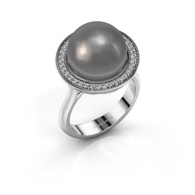 Foto van Ring Grisel 925 zilver grijze parel 12 mm