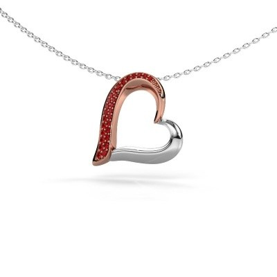 Halsketting Heart 1 585 rosé goud robijn 1.2 mm