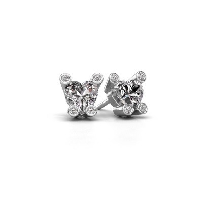 Foto van Oorstekers Cornelia Heart 375 witgoud diamant 1.64 crt