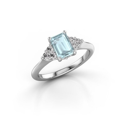 Picture of Engagement ring Felipa EME 950 platinum aquamarine 7x5 mm