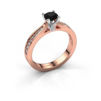 Foto van Verlovingsring Evelien 585 rosé goud zwarte diamant 0.80 crt