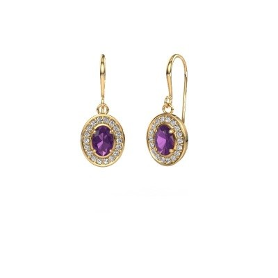 Picture of Drop earrings Layne 1 375 gold amethyst 6.5x4.5 mm