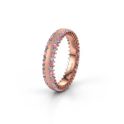 Trouwring WH2139L24B 375 rosé goud roze saffier ±4x2 mm